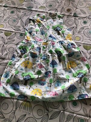 Girls Frugi Dress Age 3-4 Years Pretty White Dress With Colourful pattern