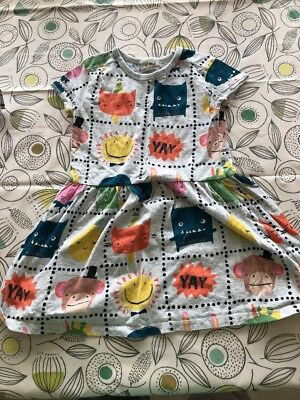 Girls NEXT Dress Age 4-5 Years - Grey With Colourful Pattern
