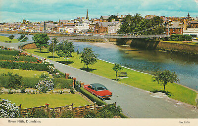 River Nith Dumfries Picture Scotland c.1982 Printed Posted Postcard