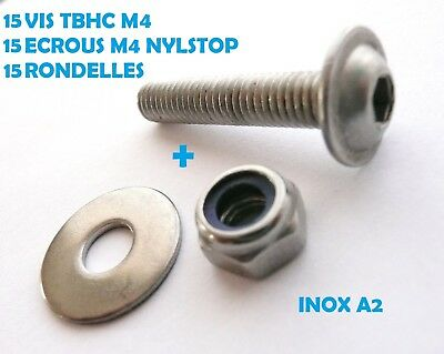 15 VIS TBHC INOX A2 M4 x 20 mm TETE BOMBEE A EMBASE + ECROUS NYLSTOP + RONDELLES