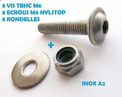 8 VIS TBHC INOX A2 M6 x 30 mm TETE BOMBEE A EMBASE + ECROUS NYLSTOP + RONDELLES