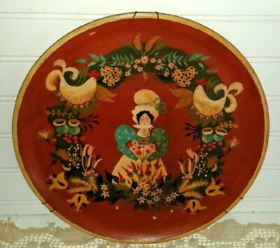 """Vtg Folk Art Wood 12"""" Plate Hand Painted Roosters Woman Floral Toleware Signed"""