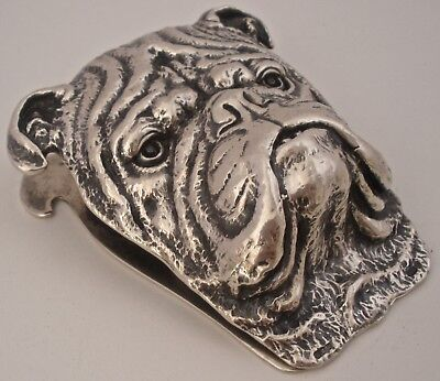 Gorgeous Heavy Cast Gorham Sterling American Bulldog Desk Paper Clip 1906