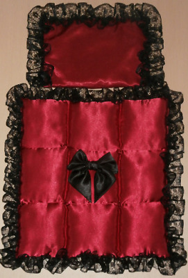 Burgundy Satin with Black Lace Padded Bubble Coach Baby Pram Quilt Set Wine