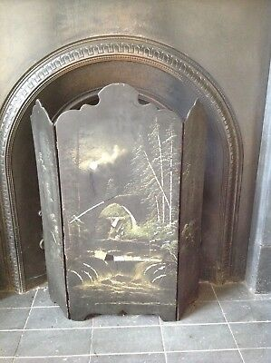 Vintage fire screen, inlaid mother of pearl, hand painted,moonlight and bridge