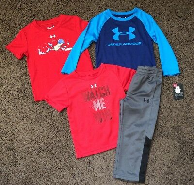 Baby Boys Toddler Under Armour UA Size 2t Lot T-shirts Long Sleeve Pants NEW NWT