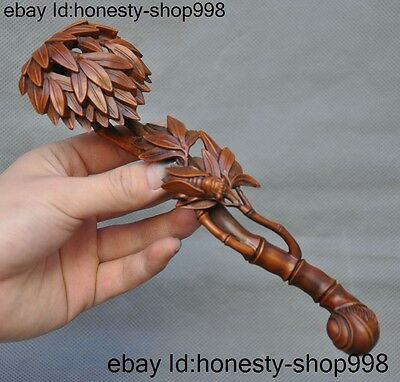 """8""""Old Chinese boxwood wood carving lucky animal Cicada bamboo wealth ruyi statue"""