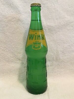 RARE FULL 355mL CADA DRY WINK ACL AND EMBOSSED SODA BOTTLE FROM MEXICO