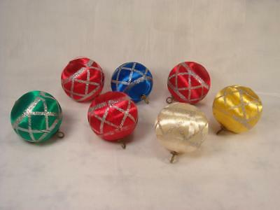 Lot 7 Vintage Satin With Glitter Design Christmas Ornaments Pyramid Made In Usa