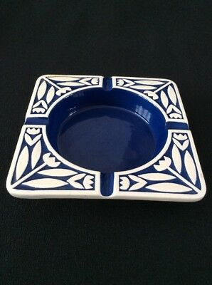 Hornsea vintage 60s square ashtray dish. White flowers & Blue colour inlay.