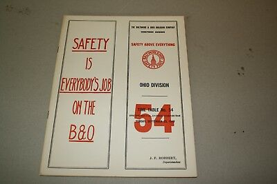 1949 Baltimore & Ohio Railroad Employee Timetable  Ohio Division. No Reserve