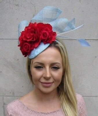 Cornflower Light Blue Red Rose Flower Feather Hat Hair Fascinator Headpiece 6063