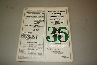 1950 Wabash Railroad Employee Timetable  Buffalo Division. No Reserve