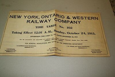 1915 New York, Ontario & Western Railroad Employee Timetable  O&W  No Reserve