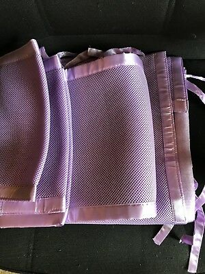 Two Piece set Breathable Mesh Crib Bumpers with Velcro and Ties Color: Lavender