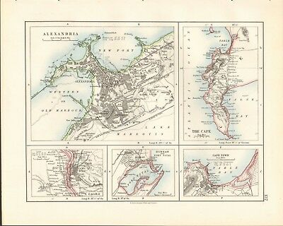 1897 Antique Map- Johnston -Alexandria, Cairo, The Cape, Cape Town, Durban