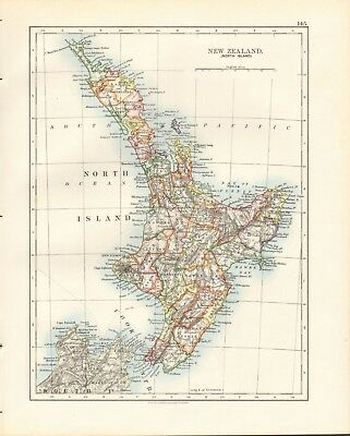 1897 Antique Map- Johnston - New Zealand, North Island