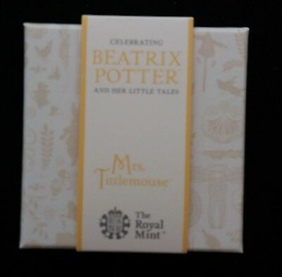 Beatrix Potter Silver Proof 50P In Case With Coa.. Mrs Tittlemouse