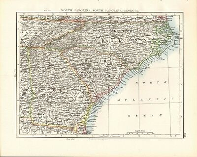 GEORGIA MAP: AUTHENTIC 1897; showing Counties, Cities, Towns ...