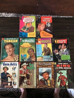Lot Of 10 Tv & Western Comics Silver Age Dell Gold Key Charlton Vg