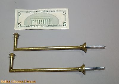 Vintage lot of 2 french gold, brass curtain tieback hooks  7.61 lenght