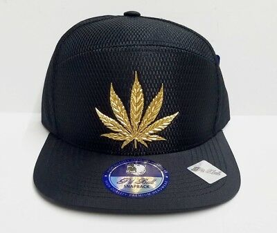 newest collection 3f666 06741 Weed Dope Leaf 420 Hat Snapback Shiny Air Mesh Cap- Black Gold