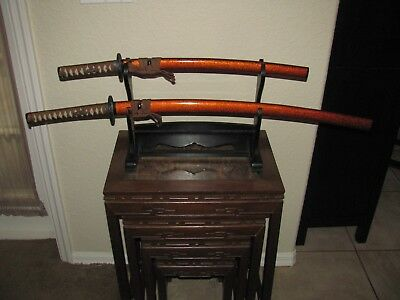 Set of 2 Samurai Swords with Display Decorative Use Excellent Condition