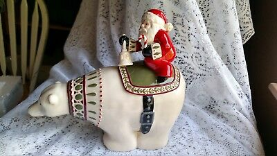 """Polar Bear Lovers"" Santa Riding on a Polar Bear Cookie Jar by Grasslands Road"