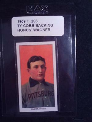 Honus Wagner 1909 T 206  Ty Cobb Backing   Mint Reprint