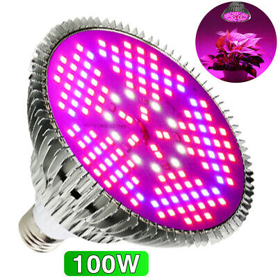 E27 100W LED Grow Light pflanzenlampe vollspektrum Indoor Blumen Gemüse Birne DE