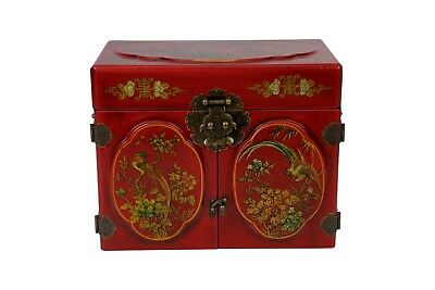 Cute Chinese Red Wood Lacquer Jewelry Box