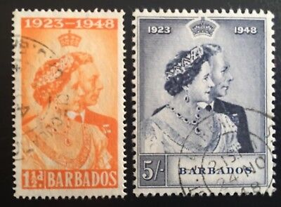 Barbados 1948 Royal Silver Wedding Fine Used Set of 2. SG265-266. Cat £14.