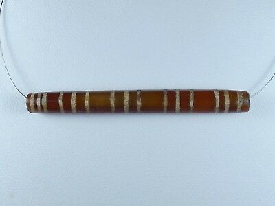 15 Stripes Ancient Translucent Military Pyu Chung Dzi Carnelian Bead 60Mm #010