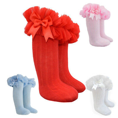 Buy Girls Kids Deluxe Spanish Fancy Frilly Long Knee High Tutu Bow Party Socks