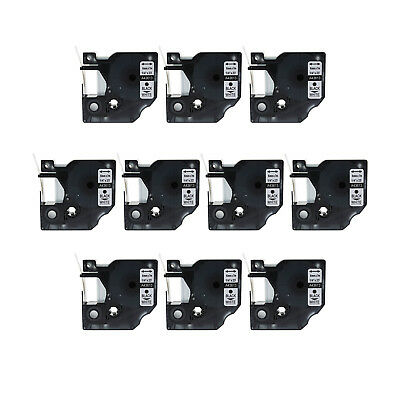 10PK Black on White Label Tape for DYMO 43613 D1 Labelmanager 450D 6mm 1/4""