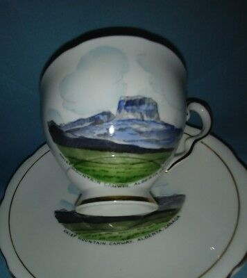 Chief Mountain Canadian Scenery Cup and Saucer Teacup Royal Stafford Bone China