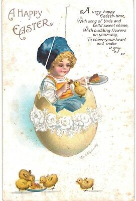 Clapsaddle Easter Pretty Blond Girl In Egg Swing Chicks 1910 A/S