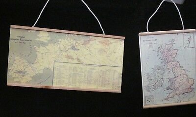 Dollhouse Miniature 2pc Vintage style Old World hanging Map  set