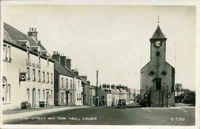 Real Photographic Postcard Of The High Street And Town Hall Lauder Berwickshire