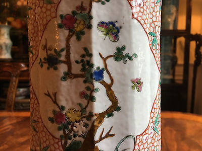 A Rare and Large Chinese Qing Dynasty Famille Rose Porcelain Gu Vase.