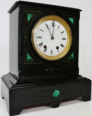 Beautiful Antique Polished Slate French 8 Day Black Striking Mantel Desk Clock