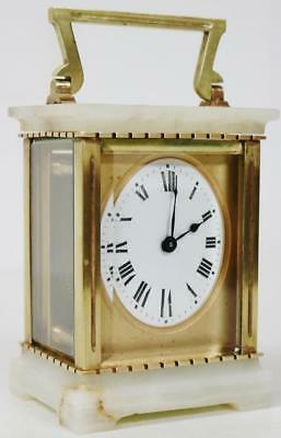 Nice Antique French 8 Day Bronze & Marble Carriage Mantel Clock C1880 & Case