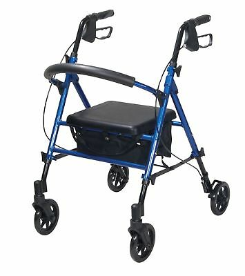 "Drive Medical Adjustable Height Rollator Rolling Walker with 6"" Wheels Blue! A32"