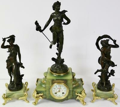 Antique French 8 Day Garniature Clock Set Striking Gilt & Marble Figural 3 Piece