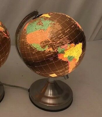 Vintage Black Globe Lamp Nite Light Touch Base Silver Base 12""
