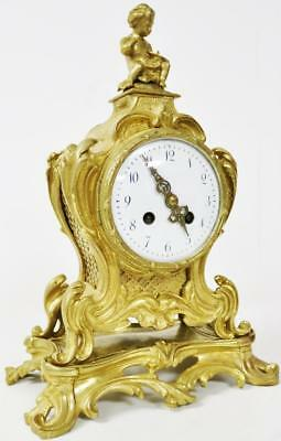 Quality Antique French 8 day Figural Bronze Ormolu Rococo Striking Mantel Clock