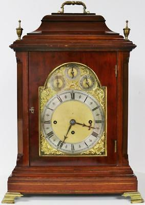 Antique English Mahogany Triple Fusee Musical 8 Bell & Gong Bracket Clock C1880