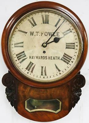 Superb Antique Drop Dial Wall Clock  8 Day Mahogany Fusee C1880 By W T Fowle Wow