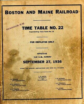 Boston and Maine Railroad - Time Table No.22 - For Employes Only - Sept. 1936