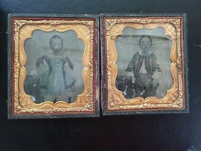 """Antique Ambrotype pictures Brother & Sister  3&1/2"""" Holder, Crack To 1 Glass"""